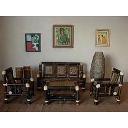 Conjuntos muebles terraza fibra rattan natural sofas - Sillones de bambu ...