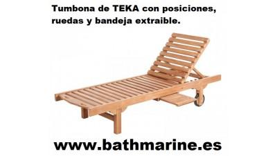 TUMBONA DE TECA Jardin Exterior posiciones respaldo madera teka terraza Hamaca Cama