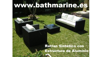 Ref 21064 OFERTA CONJUNTO RATTAN SINTETICO RATÁN JARDIN SET 4 piezas: 1 x SOFAS 2 x SILLONES  1 MESA CENTRO