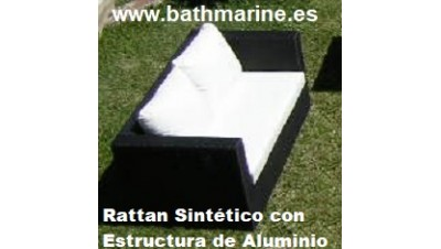 OFERTA SOFA RATTAN SINTETICO RATAN MEDIANO 2 DOS PLAZAS JARDIN TERRAZA SILLONES