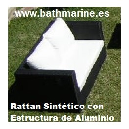 REF 21125 OFERTA SOFA RATTAN SINTETICO RATAN MEDIANO 2 DOS PLAZAS JARDIN TERRAZA SILLONES