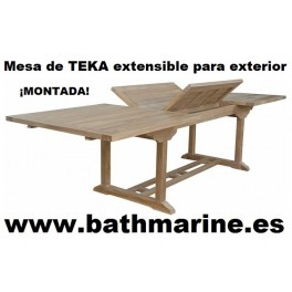 MESA DE TECA 100*160/220 RECTANGULAR EXTENSIBLE TEKA JARDIN terraza