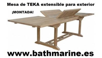 MESA de TECA 100*140/200 EXTENSIBLE RECTANGULAR MADERA TEKA JARDIN TERRAZA