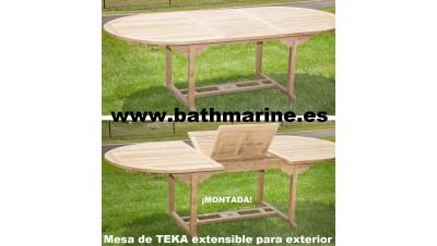 OFERTA MESA DE TECA OVAL 100*160/220 extensible de teka jardín terraza