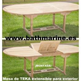 MESA DE TECA OVAL 100*160/220 extensible de teka jardín terraza