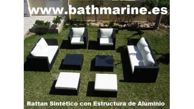 CONJUNTO RATTAN ARTIFICIAL CON ESTRUCTURA DE ALUMINIO 8 PIEZAS