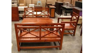 Oferta CONJUNTO TERRAZA madera: 2 SOFAS 2 PLAZAS + 1 SILLON + 1 MESA CENTRO