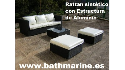 OFERTA CONJUNTO RATTAN SINTETICO RATÁN JARDIN SET 4 piezas: 1 x SOFA  2 x PUFFS  1 MESA CENTRO c/Cristal