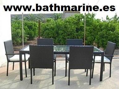 Mesas rattan sintetico ratan jardin terraza exterior fibra for Mesas de terraza y jardin baratas